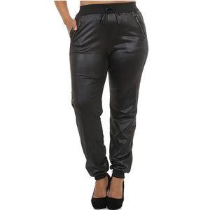 Plus Size Shiny Zipper Pants